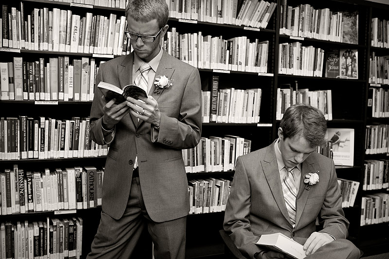 groomsmen in library at minneapolis wedding