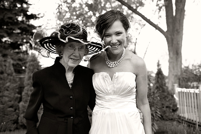 bride with grandmother at lake minnetonka wedding reception