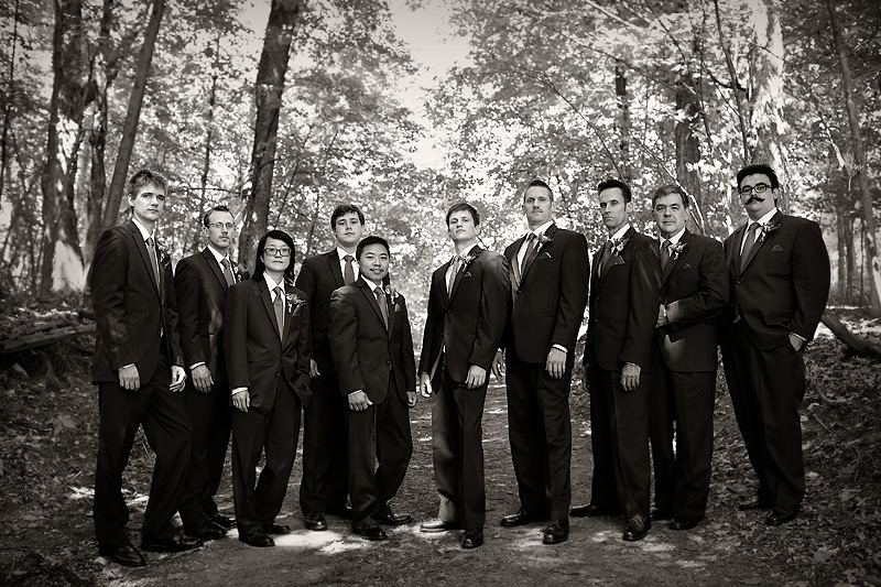 Groomsmen at woods chapel wedding