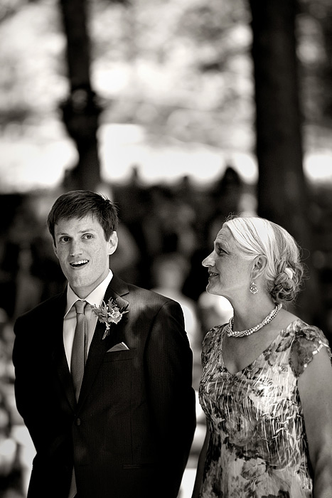 Groom's reaction to seeing bride - woods outdoor chapel