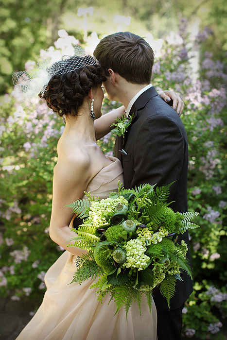 brown and green wedding bouquet