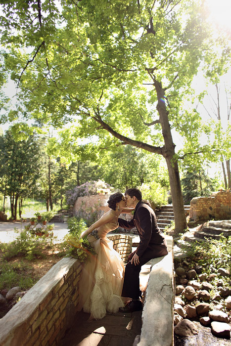 bride and groom Woods outdoor Chapel - photographer
