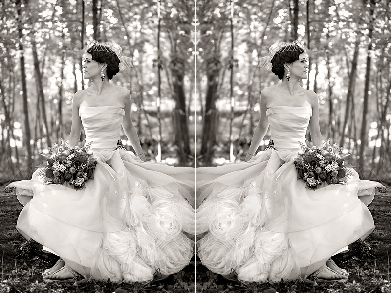 bride in woods - modern wedding photography minneapolis