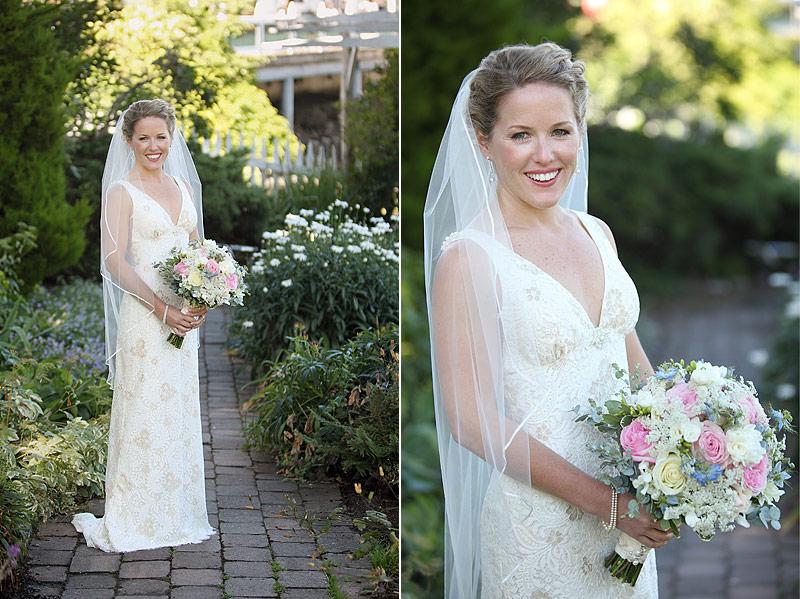 Bride in Gardens - San Juan Island wedding