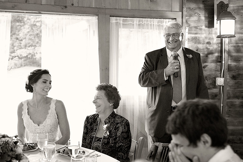 Father's toast at round barn farm wedding