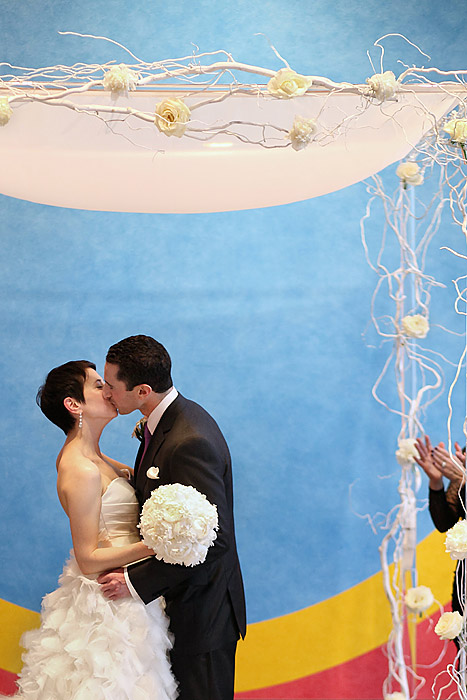bride and groom under chuppah at walker art center wedding