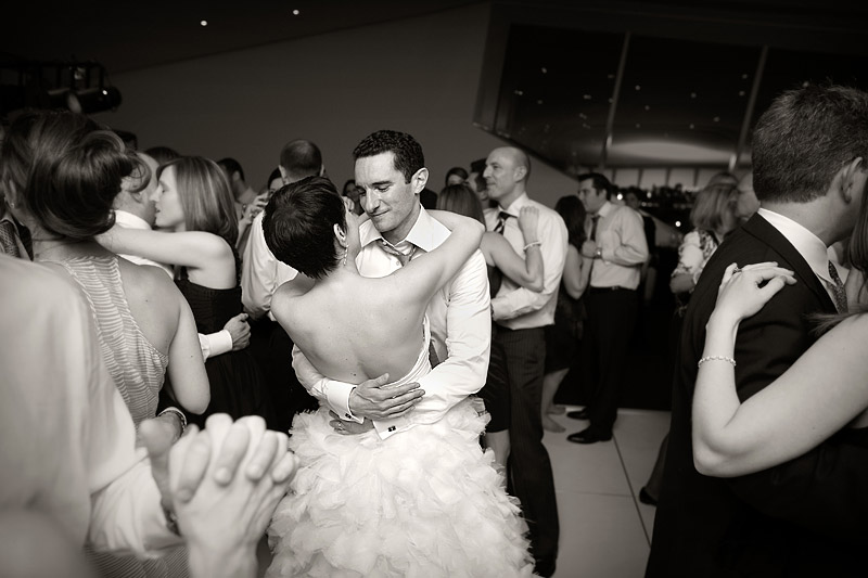bride and groom dance at walker art center museum wedding
