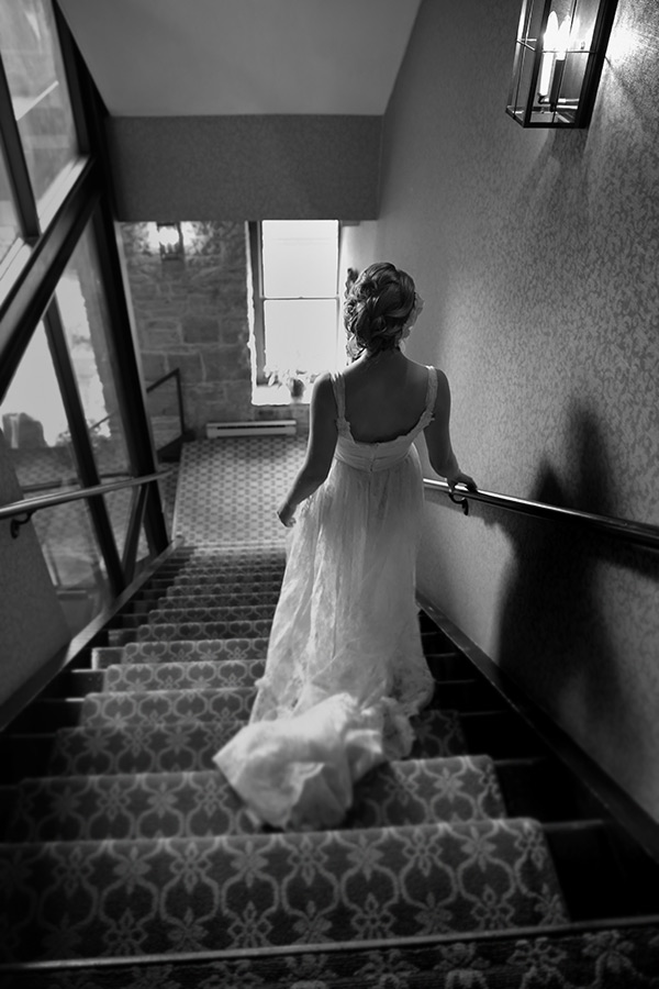 Bride and Staircase - Getting ready for wedding at Nicollet Island Inn