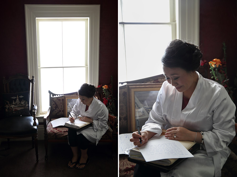 Bride writing vows at Cedarhurst Mansion