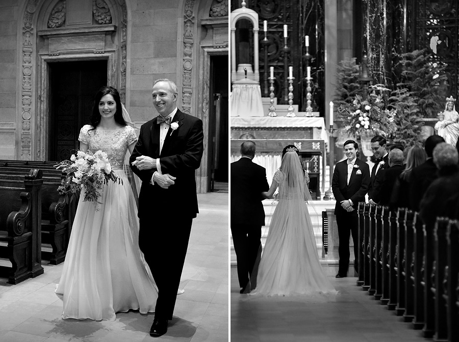 Bride walking down aisle at Cathedral of St. Paul wedding