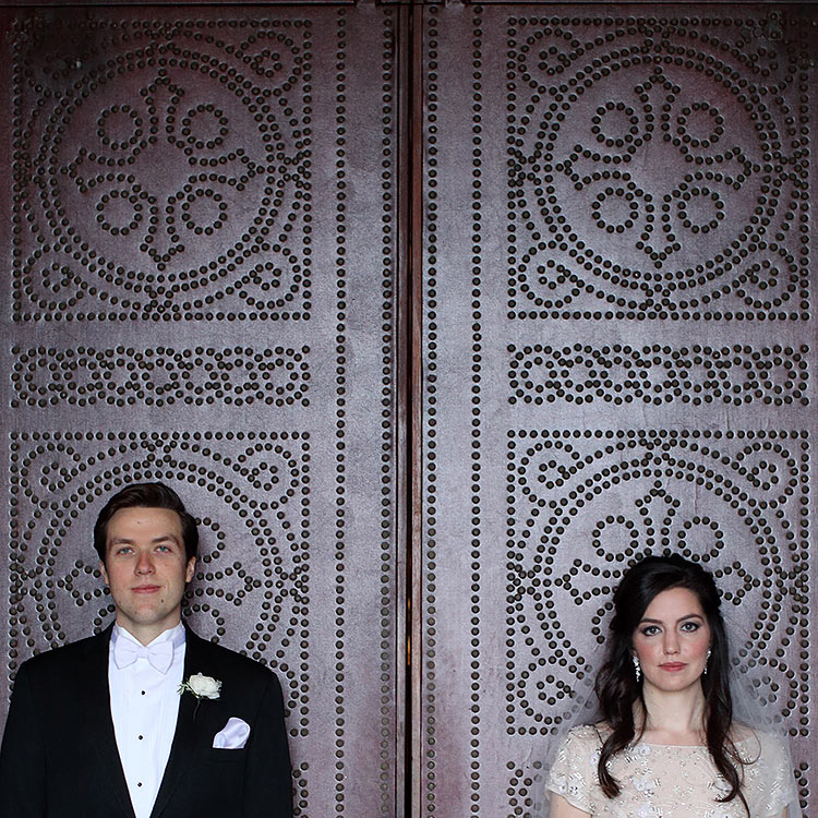 bride and groom, Cathedral of St. Paul wedding doors