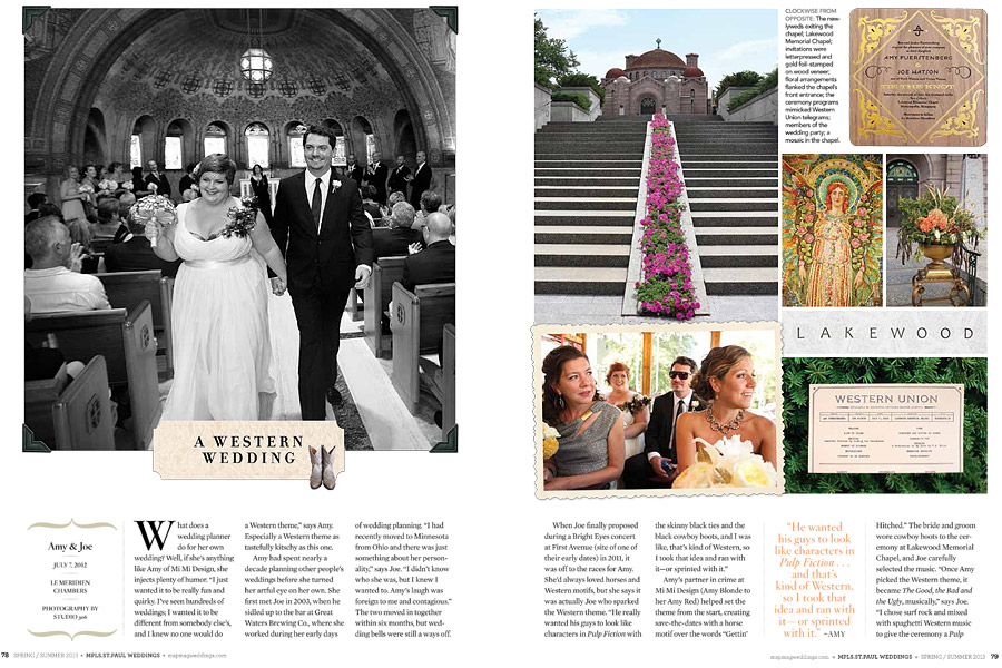 Minneapolis St. Paul Magazine Summer 2013 - mimi studio 306 weddings