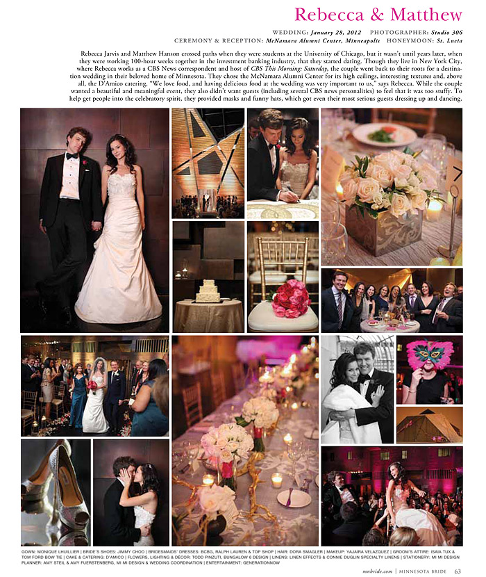 Rebecca Jarvis in Minnesota Bride Magazine 2013 - Studio 306